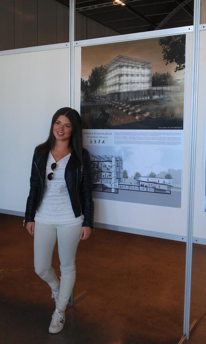 Lana Karat vid sitt förslag till nytt konstmuseum i Uppsala